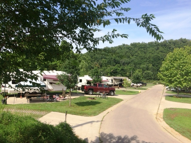 view of campers in one of the campgrounds