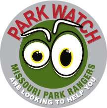 "The Park Watch logo featuring two large eyeballs and the text ""Park Watch: Missouri Park Rangers are looking to help you."""