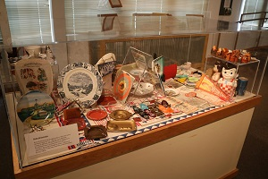 Route 66 artifacts on display inside the visitor center