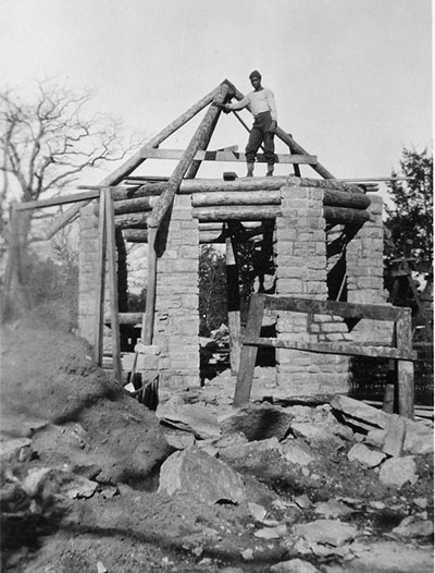 Civilian Conservation Corps crew constructing a rock shelter at Washington State Park